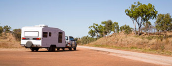 Caravan towed in the Australian Outback