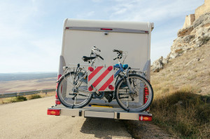 Caravan from the back with a bicycle rack attached