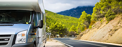 Motor Home On Winding Road