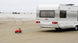 Toy Car Towing a Caravan