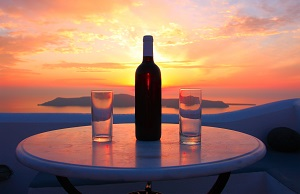 wine on sunset