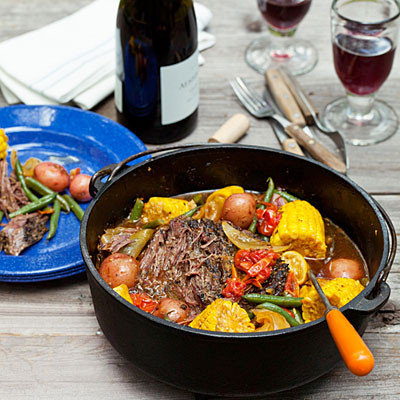 Braised beef with summer vegetables