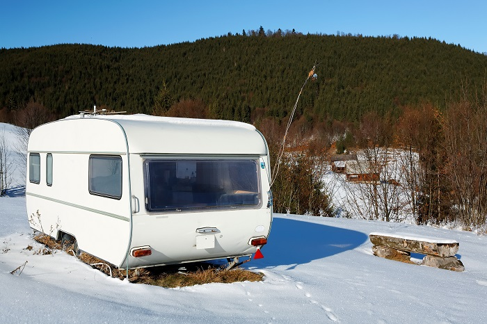 caravan in the snow